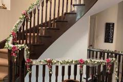 Staircase Decor With Synthetic Flower Vines & Lights