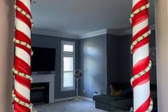 Pillar Decor With Red Drapes & Flower String